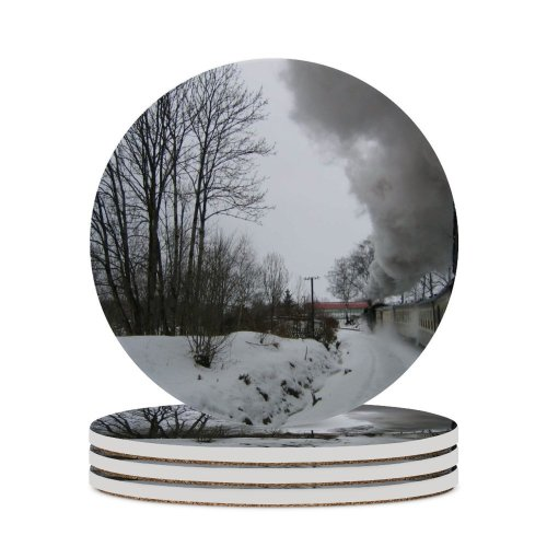 yanfind Ceramic Coasters (round)  Locomotive Train Trees Winter Snow Snowy Grey Countryside Landscape Bushes Freezing Family Game Intellectual Educational Game Jigsaw Puzzle Toy Set