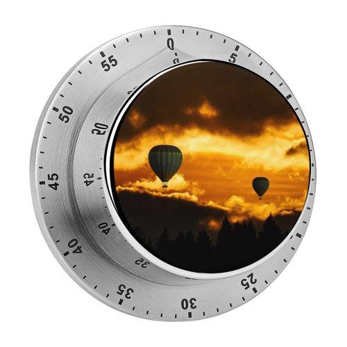 yanfind Timer Hot  Balloons Sunset Flying Travel Vacation Dusk Adventure Dark Clouds Dark 60 Minutes Mechanical Visual Timer