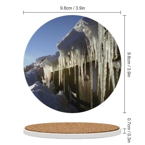 yanfind Ceramic Coasters (round) Snow  Cabin Sky Pure  Sunshine  Glassy Glass Sharp Icicle Family Game Intellectual Educational Game Jigsaw Puzzle Toy Set