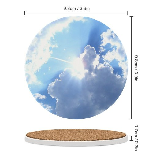 yanfind Ceramic Coasters (round)  Cloud Clouds Sky Sunny Sunshine Cloudy Fluffy Natural Daytime Cumulus Sunlight Family Game Intellectual Educational Game Jigsaw Puzzle Toy Set