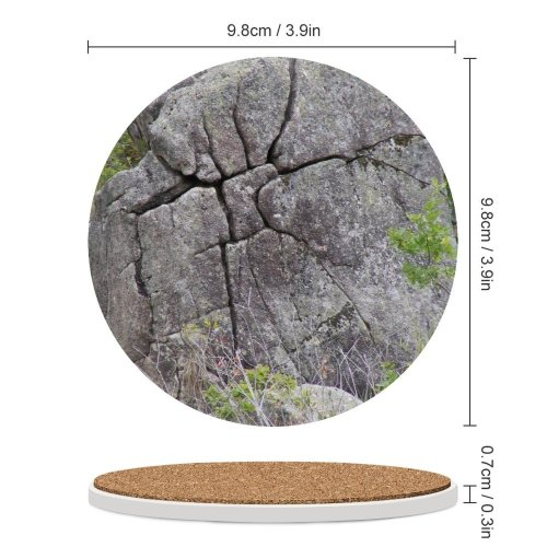 yanfind Ceramic Coasters (round) Stone Rock Boulder Bedrock Outcrop Geology Formation Batholith Igneous Plant Community Grass Family Game Intellectual Educational Game Jigsaw Puzzle Toy Set