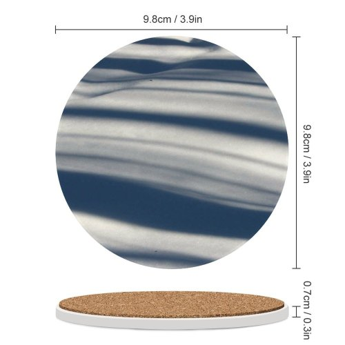 yanfind Ceramic Coasters (round) Snow Texture Winter Forest Neige Nieve Tree Trees Shadows Stripes Ripples Lines Family Game Intellectual Educational Game Jigsaw Puzzle Toy Set