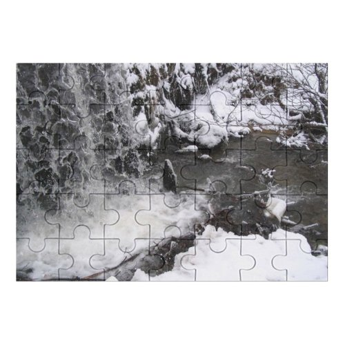 yanfind Picture Puzzle Waterfall Winter  Snow Resources  Watercourse Geological Rapid Freezing River Family Game Intellectual Educational Game Jigsaw Puzzle Toy Set
