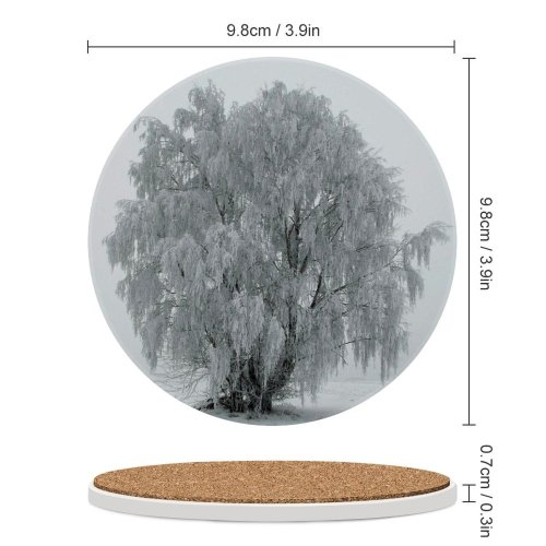 yanfind Ceramic Coasters (round) Snow Tree Freez Cry Fog  Winter Frost Freezing Atmospheric Woody Plant Family Game Intellectual Educational Game Jigsaw Puzzle Toy Set