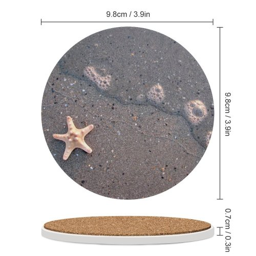 yanfind Ceramic Coasters (round) Starfish Sea  Fish Wave Sand Summer Season Grey Simple Copyspace Echinoderm Family Game Intellectual Educational Game Jigsaw Puzzle Toy Set