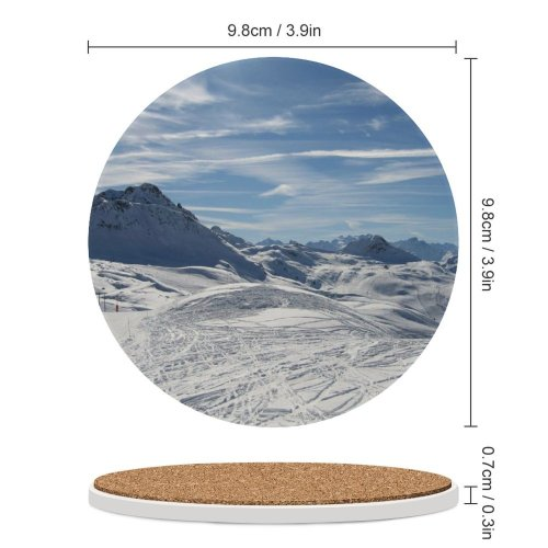 yanfind Ceramic Coasters (round) Snow France Plagne Ski Vacation Snowboard  Sky Wheater Winter  Mountainous Family Game Intellectual Educational Game Jigsaw Puzzle Toy Set