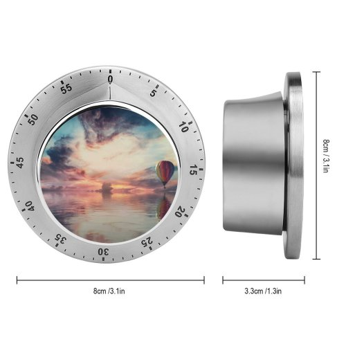 yanfind Timer Hot  Balloon Multicolor Colorful Sky Reflection Clouds Sky 60 Minutes Mechanical Visual Timer