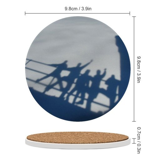 yanfind Ceramic Coasters (round) Snow Shadows Fun Winter  Silhouette Boys Girls Funny Banister Castle Sky Family Game Intellectual Educational Game Jigsaw Puzzle Toy Set