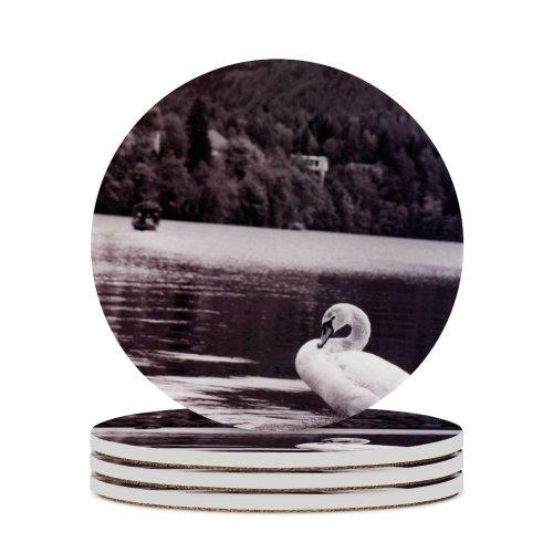 yanfind Ceramic Coasters (round) Slovenia Bled Lake Travel  Bird Beak Ducks Geese Swans Seabird Family Game Intellectual Educational Game Jigsaw Puzzle Toy Set