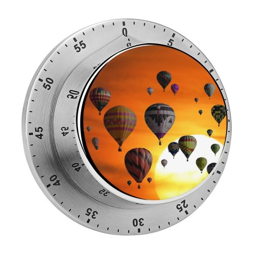 yanfind Timer Hot  Balloons Sunset Sky Travel Vacation Holidays Adventure Sky 60 Minutes Mechanical Visual Timer
