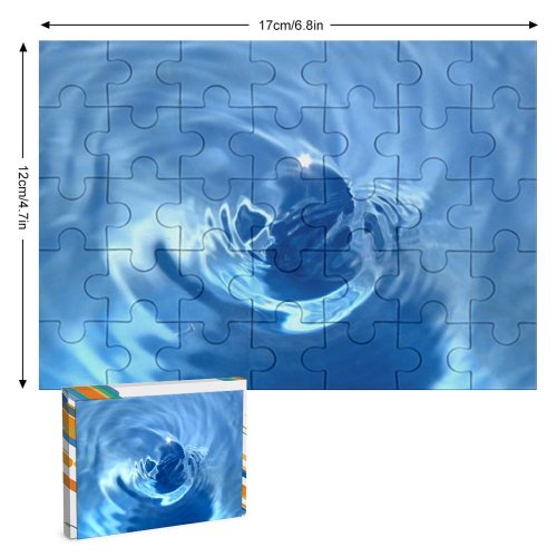 yanfind Picture Puzzle Wave Resources Electric Cobalt Sky  Liquid Family Game Intellectual Educational Game Jigsaw Puzzle Toy Set