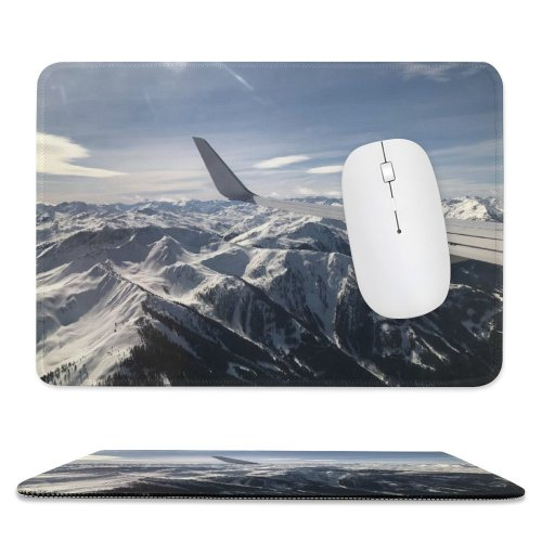 yanfind The Mouse Pad Scenery Range Glacier Airplane Sky Mountain Flying Snow Free Ice Over Pattern Design Stitched Edges Suitable for home office game