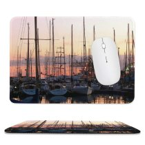 yanfind The Mouse Pad Marina Watercraft Harbor Mast Boats Sunset Sky Harbor Sky Vehicle Reflection Dock Pattern Design Stitched Edges Suitable for home office game