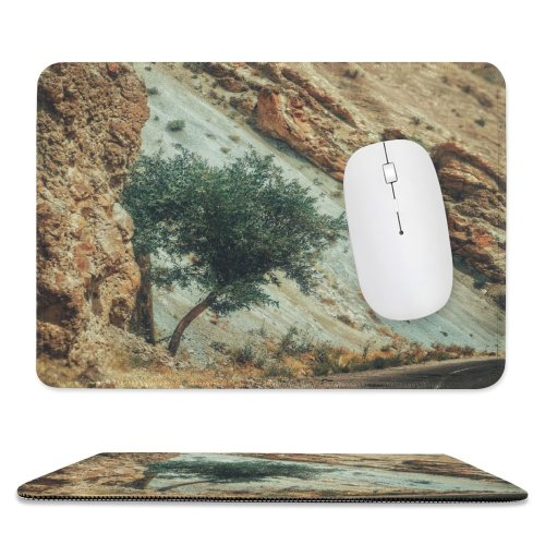 yanfind The Mouse Pad Scenery Highway Tree Mountain Mesa Wilderness Free Ground Stream Basin River Pattern Design Stitched Edges Suitable for home office game