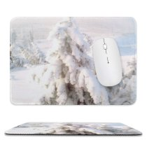 yanfind The Mouse Pad Fir Winter Saskatchewan Geological Tree Tree Plant Frost Winter Freezing Atmospheric Snow Pattern Design Stitched Edges Suitable for home office game
