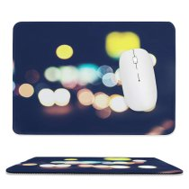 yanfind The Mouse Pad Blur Focus Dark Design Shiny Shining Illuminated Lights Downtown Blurred Colorful Scene Pattern Design Stitched Edges Suitable for home office game