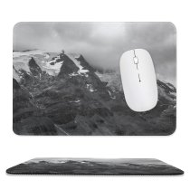 yanfind The Mouse Pad Landscape Peak Domain Slope Pictures Outdoors Austria Grey Snow Bw Glacier Pattern Design Stitched Edges Suitable for home office game