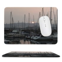 yanfind The Mouse Pad Marina Harbor Mast Sky Reflection Vehicle Atardecer Boat Atmospheric Port Puerto Pattern Design Stitched Edges Suitable for home office game