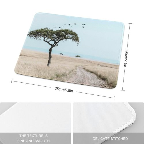 yanfind The Mouse Pad Savanna Road Beach National Wildlife Kenya Pictures Grassland Sea Outdoors Tree Pattern Design Stitched Edges Suitable for home office game