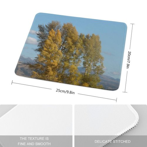 yanfind The Mouse Pad Tree Trees Plant Wood Forest Leafs Autumn Leaf Woody Natural Landscape Sky Pattern Design Stitched Edges Suitable for home office game