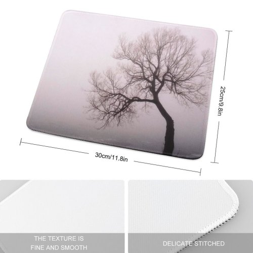 yanfind The Mouse Pad Mist Canons Morning Natural Atmospheric Woody Fog Landscape Sky Eerie Branch Tree Pattern Design Stitched Edges Suitable for home office game