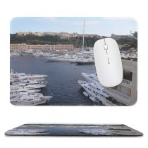 yanfind The Mouse Pad Marina Harbor Monaco Waterway Monte Formula Vehicle Yacht Luxury Dock Boat Port Pattern Design Stitched Edges Suitable for home office game