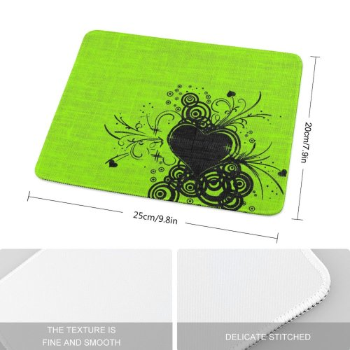 yanfind The Mouse Pad Valentine Heart Lime Texture Love Design Ornament Leaf Plant Floral Visual Art Pattern Design Stitched Edges Suitable for home office game