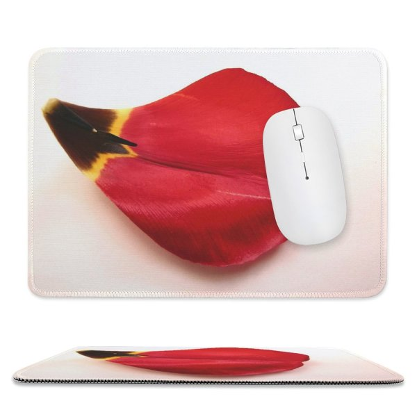 yanfind The Mouse Pad Tulip Leaf Petal Lip Carmine Heart Plant Coquelicot Valentine's Flower Pattern Design Stitched Edges Suitable for home office game
