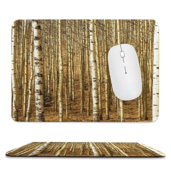 yanfind The Mouse Pad Tree Trees Forest Woods Relaxing Peace Grass Soothing Clean Fresh Canoe Birch Pattern Design Stitched Edges Suitable for home office game