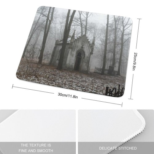 yanfind The Mouse Pad Mist Natural Atmospheric Autumn Cemetery Sadness Woody Fog Landscape Haze Spooky Gothic Pattern Design Stitched Edges Suitable for home office game