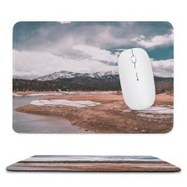 yanfind The Mouse Pad Abies Scenery Range Tree Mountain Plant Fir Free Ground Basin Ice Pattern Design Stitched Edges Suitable for home office game