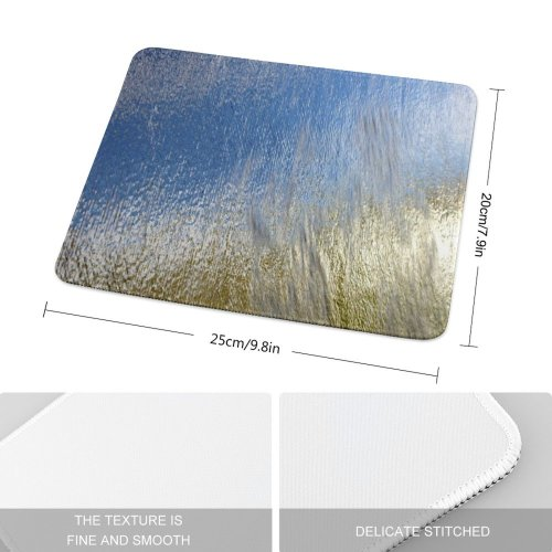 yanfind The Mouse Pad Wall Running Light Texture Grey Sky Grass Family Plant Wave Metal Pattern Design Stitched Edges Suitable for home office game