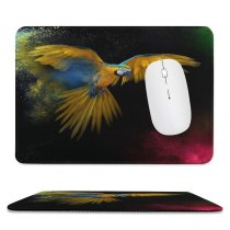 yanfind The Mouse Pad Dark Macaw Wings Feathers Colorful Splash Bird Pattern Design Stitched Edges Suitable for home office game