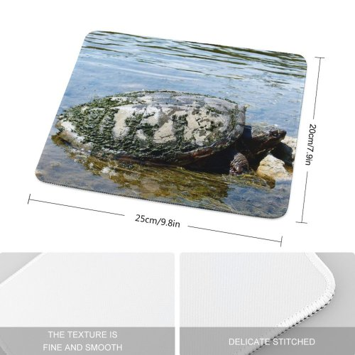 yanfind The Mouse Pad Turtle Turtles Reptiles Reptile Wildlife River Old Mud Muddy Pond Tortoise Common Pattern Design Stitched Edges Suitable for home office game