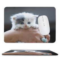yanfind The Mouse Pad Blur Focus Whiskers Cat Little Depth Field Pet Fur Furry Kitten Grey Pattern Design Stitched Edges Suitable for home office game