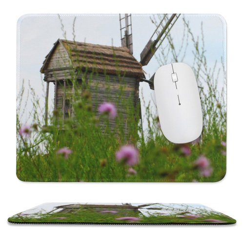 yanfind The Mouse Pad Mill Old Spring Decayed Derelict Plant Windmills Flowers Energy Wildflower Wood Wooden Pattern Design Stitched Edges Suitable for home office game