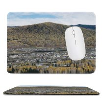 yanfind The Mouse Pad Abies Scenery Range Tree Mountain Domain Wilderness Plant Fir Public Pattern Design Stitched Edges Suitable for home office game
