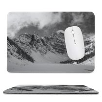 yanfind The Mouse Pad Abies Range Glacier Lake Tree Mountain Snow Agnes Plant Canada District Pattern Design Stitched Edges Suitable for home office game