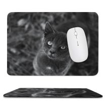 yanfind The Mouse Pad Blur Focus Whiskers Cat Face Grass Eyes Portrait Pet Tabby Fur Outdoor Pattern Design Stitched Edges Suitable for home office game