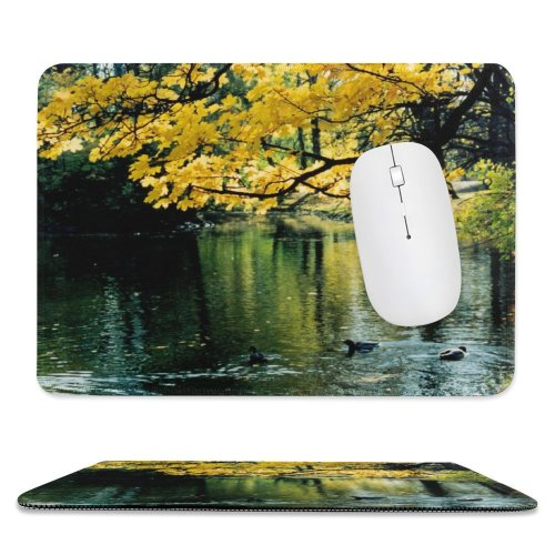 yanfind The Mouse Pad Ujazdowski Park Warsaw Autumn Fall Natural Landscape Reflection Tree Leaf Bank Pattern Design Stitched Edges Suitable for home office game