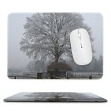 yanfind The Mouse Pad Tree Ice Snow Atmospheric Natural Landscape Fog Mist Freezing Winter Frost Woody Pattern Design Stitched Edges Suitable for home office game