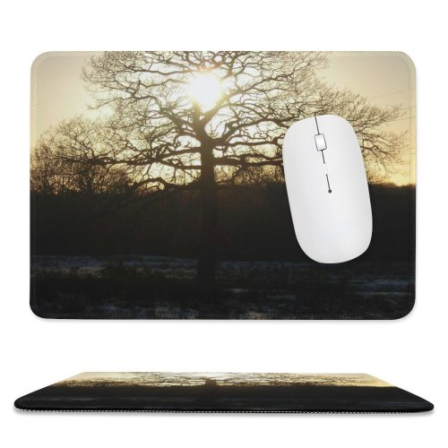 yanfind The Mouse Pad Tree Sun Sunset Fire Golden Light Sky Natural Landscape Sunlight Atmospheric Branch Pattern Design Stitched Edges Suitable for home office game