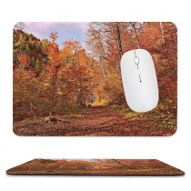 yanfind The Mouse Pad Abies Road Leaf Plant Domain Trunk Pictures Ground Outdoors Tree Fir Pattern Design Stitched Edges Suitable for home office game
