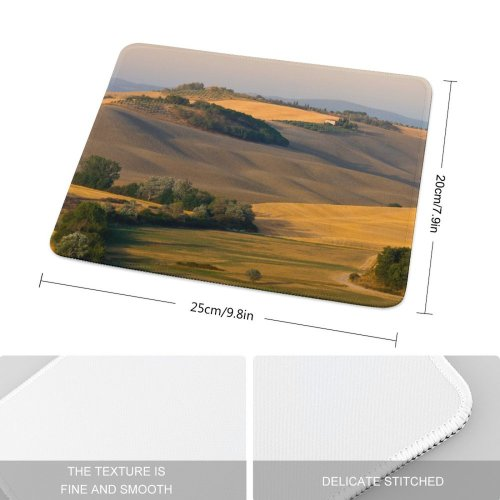 yanfind The Mouse Pad Tuscany Tuskany Toscana Italy Italia Summer Landscape Hills Fields Golden Sun Sunshine Pattern Design Stitched Edges Suitable for home office game
