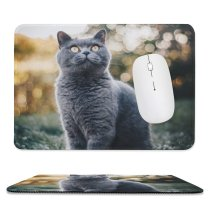 yanfind The Mouse Pad Blur Focus Whiskers Shorthair Cat Grass British Pet Sit Fur Downy Hairy Pattern Design Stitched Edges Suitable for home office game
