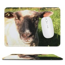 yanfind The Mouse Pad Family Vertebrate Portait Terrestrial Sheep Grass Cow Pasture Snout Goat Sheep Pattern Design Stitched Edges Suitable for home office game