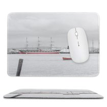 yanfind The Mouse Pad Vehicle Wannabe Ship Transportation Boat Stock Grey Pier Harbor Dock San Pattern Design Stitched Edges Suitable for home office game
