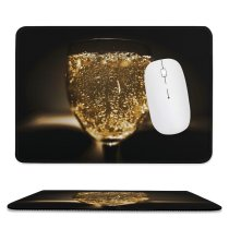yanfind The Mouse Pad Blur Focus Dark Celebration Crystal Liquor Glitter Wine Sparkling Alcohol Bar Champagne Pattern Design Stitched Edges Suitable for home office game