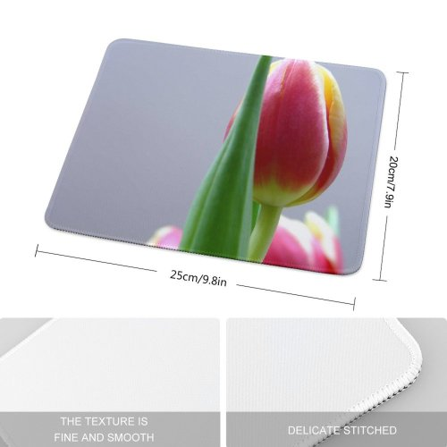 yanfind The Mouse Pad Tulip Grey Petal Flower Bud Plant Flowering Stem Botany Pattern Design Stitched Edges Suitable for home office game