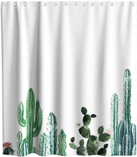 Cactus Shower Curtain Tropical Plant Floral Cartoon Succulent Theme Fabric Sets Bathroom Kids Flowers Decor with Hooks Waterproof Washable 70 x 70 inches Green and White